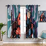 Elliot Dorothy Deadpool Captain America Solid Grommet Blackout Curtains Blackout Window Curtain for Child Rooms W55 x L63Inch Durable Fabric