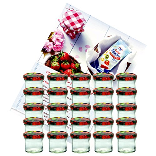 """Mambocat - Set da 25 vasetti in vetro per marmellate e conserve 125 ml coperchio a vite con motivo decorativo frutta 66 mm in omaggio libro di ricette """"Gelierzauber"""" di Diamant-Zucker (lingua italiana non garantita)."""
