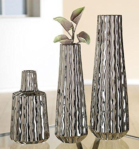 CH Trading - Vaso in Ceramica Rubber, Colore: Argento Lucido