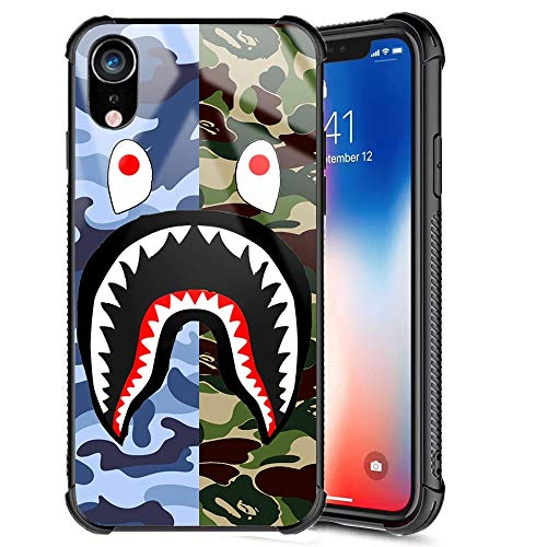 iPhone XR Case, Street Fashion Cool Designer Slim Tempered Glass Back Cover + Soft Silicone TPU Bumper Shock Absorption Anti Scratch Boys Men Protective Case for iPhone XR 6.1inch (Blue Green Shark)
