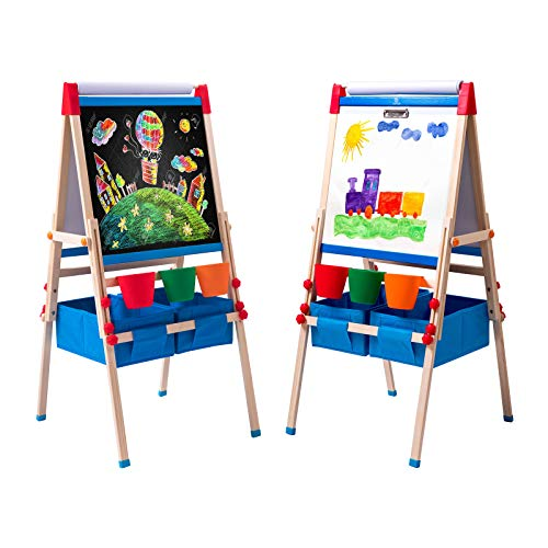 ERYOK Kid's Art Easel with Adjustable Double-sided Magnetic Board, Paper Roll, Storage and Accessories, Standing Art Easel for Kids, Toddlers (31-55.5 inches)