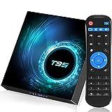 TV Box,Android TV Box 10.0 4GB RAM 64GB ROM, T95 Android TV Box Allwinner H616 Quad core 64-bit 2.4G/5.8GHz WiFi Bluetooth 5.0,6K HD/ 3D/ H.265 10/100 Ethernet
