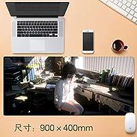 Vampsky 拡張大型プロフェッショナルゲーミングマウスパッド日本のアニメの女の子とヘッドフォンノンスリップマット表ホームオフィス厚み付けラバーベース耐水性デスクマットのノートパソコンのキーボードパッドアニメギフト90 * 40センチメートル (サイズ : Thickness: 3mm)