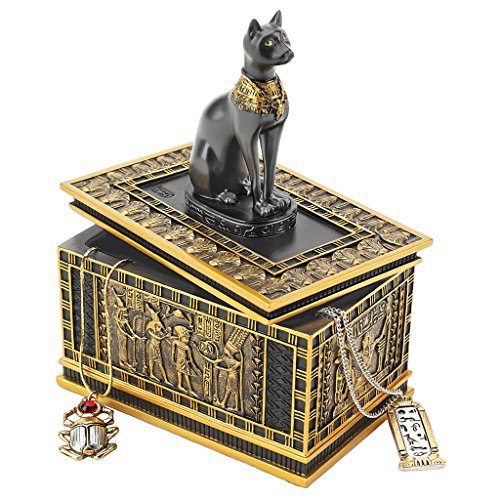 Design Toscano WU74309 Royal Bastet Cat Goddess Egyptian Jewelry Box Statue, 6 Inch, Polyresin, Black and Gold