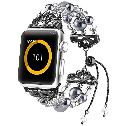 fohuas beaded Bracelet Compatible for Apple Watch 42mm 44mm Series SE 6 5 4 3 2 1, Adjustable Crystal Beads Handmade Pearl iWatch Band Elastic Stretch Jewelry Wristband for Women Girl, Black