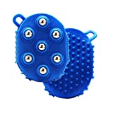 ULTNICE Palm Massager Glove Bath Brush bola de rodillo de metal para aliviar el dolor Dolor muscular celulitis (azul)