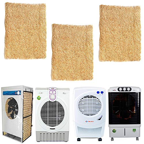 SAI BALAJI Air Cooler Grass Cooling Pads Wood Wool 18 x 28 Set of 3 Pack Covering with Net Suitable for Kenstar Symphony Bajai Desert Coolers No16