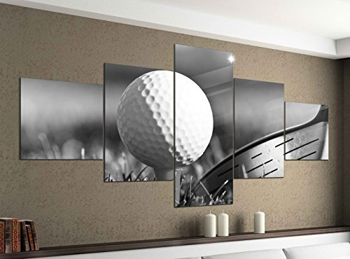 Leinwandbild 5 tlg. 200cmx100cm Ball Golf Sport Golfball Abschlag schwarz weiß Bilder Druck auf Leinwand Bild Kunstdruck mehrteilig Holz 9YA1237, 5Tlg 200x100cm:5Tlg 200x100cm