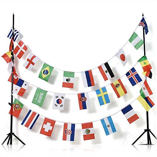 AZ Ghirlanda 13 Metri 32 Bandiere Campionato Mondiale di Calcio 2018 Russia 30x20cm - Bandiera Coppa del Mondo di Football 20 x 30 cm - Festone BANDIERINE