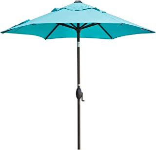 Abba Patio Outdoor Umbrella 7-1/2 ft. Table Umbrella with Push Button Tilt and Crank Lift, Turquoise