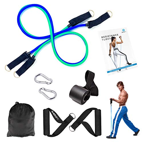 Boldfit 2 Pieces Resistance Band Set with Handles, Portable Toning Tubes with Door Anchor. Bag Included