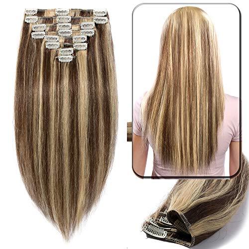 Extension Clip Capelli Veri Meche 100% Remy Human Hair Tessitura con Clips Full Head (25cm-75g, 4/#27 Marrone Cioccolato/Biondo Scuro)