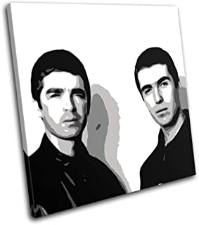 Bold Bloc Design - Oasis Liam Noel Gallagher Abstract Musical 90x90cm Single Canvas Art Print Box Framed Picture Wall Hanging - Hand Made in The UK - Framed and Ready to Hang RC-6395(00B)-SG11-LO-D