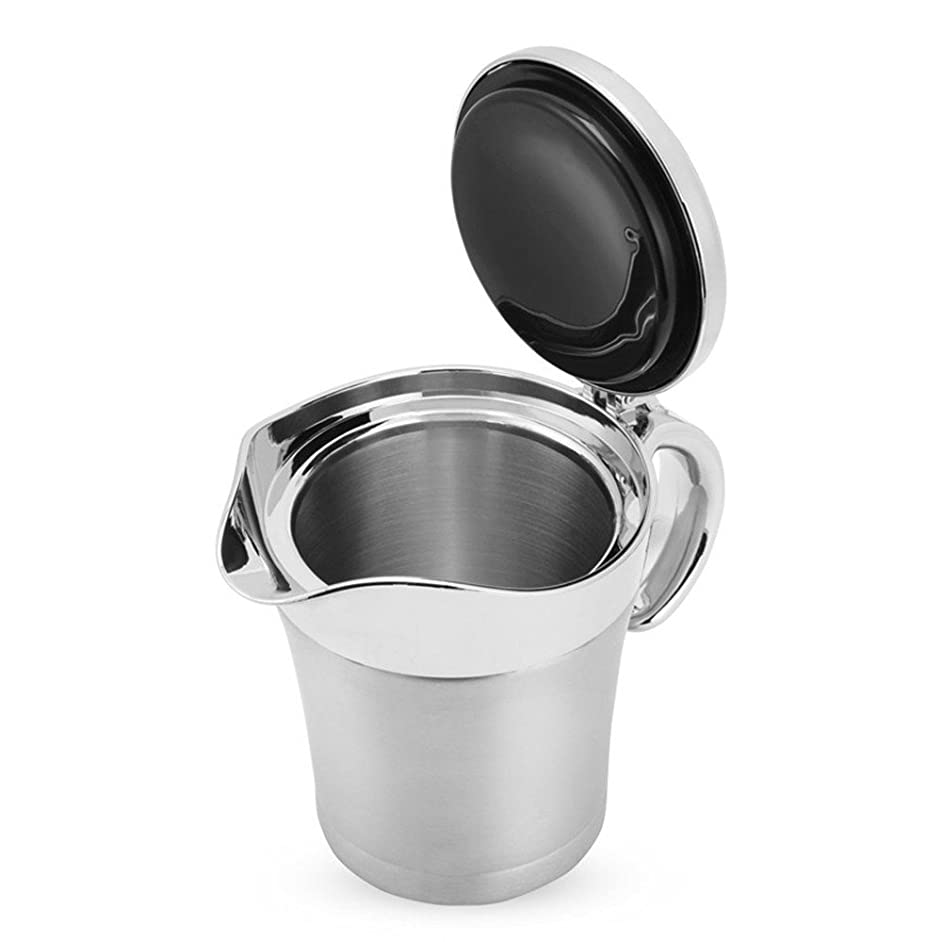 ANGELA 16oz Stainless Steel Gravy Boat, Steak Sauce Pot with Lid, Double Wall Insulated Design, Storage for Soup Juice or Cream, for Home Kitchen Use