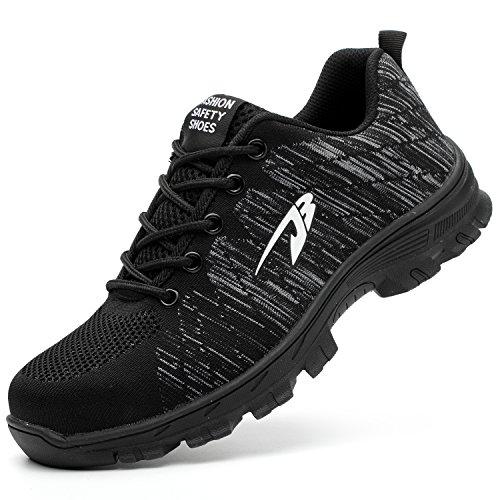 COOU Sicherheitsschuhe Herren Stahlkappe s3 Sneaker Arbeitsschuhe Leicht Sportlich Turnschuhe Damen Unisex, Style 536 Black, 46 EU