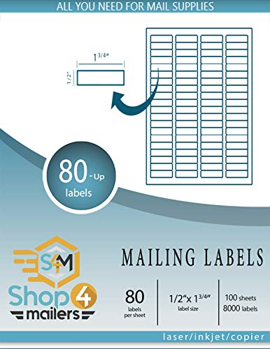 Shop4Mailers 80-Up White Shipping Labels 1/2' x 1 3/4' ~ 100 Sheets, 8000 Labels