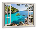 Pixxprint Mallorca Bay Cove, Fenster Leinwandbild
