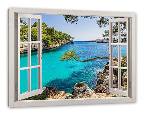 Pixxprint Mallorca Bay Cove, Fenster Leinwandbild  Größe: 100x70 cm   Wandbild   Kunstdruck