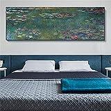 Monet Nenúfares Reproducciones de pinturas al óleo Impresión en lienzo Carteles artísticos Obras de arte famosas de Monet Cuadros de pared Decoración del hogar 50x140cm (20x55in) Marco interior