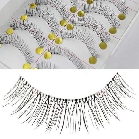 20 Pairs Natural Look Taiwan Handmade Fake False Eyelashes Eye Lashes Transparent Stem High Quality #218 Classical Eyelashes - MZZH17001 by BMGIC