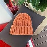 Mdder Femmes innocentes Casquettes Filles Hiver Chapeau Bonbons Couleur Chapeaux épais Chaud Chapeaux Haricots Doux tricoté - Orange