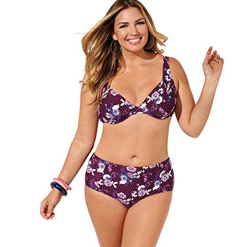 VENCA Bikini Estampado Sujetador de Copas Cortadas Mujer by Vencastyle - 013547,Estampado Lila Morado,100B
