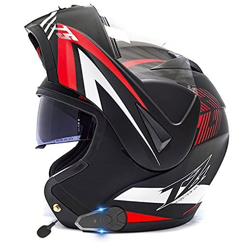 Casco De Moto Modular Bluetooth ECE Homologado Integrado Casco de Moto con un Micrófono Incorporado Anti Niebla Visera Doble ECE/Dot Homologado Adultos Hombres Mujeres Cascos Moto(Color:C,Size:XL=61