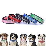 Oncpcare Dickes, reflektierendes Hundehalsband, personalisiertes Sicherheits-Halsband mit Stickgarn, Farben, Name und Telefonnummer, personalisiertes Hundehalsband für mittelgroße und große Hunde