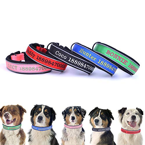 Oncpcare - Collari per cani spessi e riflettenti, personalizzabili, con filo da ricamo, con nome e numero di telefono, per cani di taglia media e grande