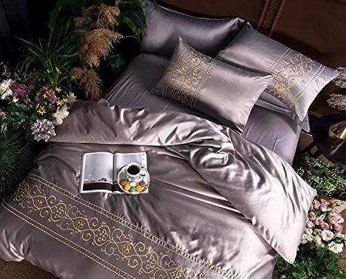 4 Stück Satin Bettwäsche-Sets Kingsize-Bett Größe Bettbezug Spannbetttuch Kissenbezüge Set Von,Gray-220X240