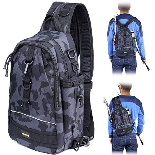 PLUSINNO Fishing Tackle Backpack Storage Bag,Outdoor Shoulder Backpack,Fishing Gear Bag,Water-Resistant Fishing Backpack with Rod Holder-MCH