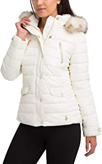 Womens Puffer Parka Heavyweight Coat with Faux Fur Hood