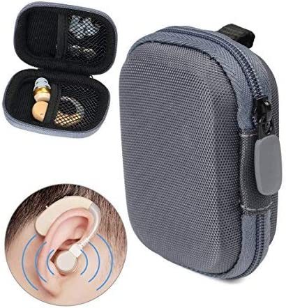lowest Designed Protective Case for Hearing Aid, Hearing Amplifier, Personal Sound Amplifier, Hearing Device, Listening Device, Strong high quality Mini Case with popular Mesh Pocket, Universal Design (Polyester Gray) sale