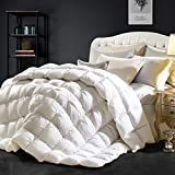 Goose Down Comforter 100% Egyptian Cotton 750+ Fill Power Insert King Comforter 1200 Thread Count Pinch Pleat Design Down Proof Duvet Comforter with Corner Tabs for All Seasons,White 106x90Inches