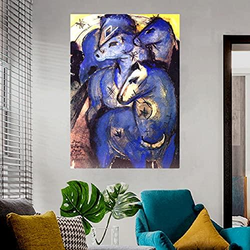 Franz Marc Torre de caballos azules Pinturas de animales Lienzo Arte de la pared Decoraciones de pared para sala de estar Decoración de dormitorio 30x42cm 12