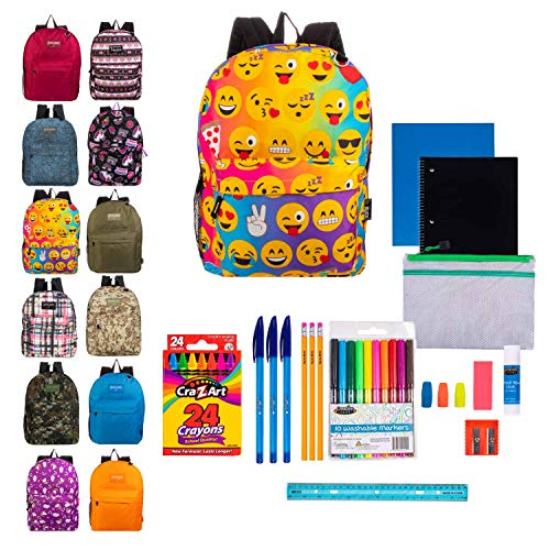 17' Bulk Backpacks with 31 Piece School Supply Kits - Case of 12 Backpacks in 8 to 12 Assorted Prints and Colors Value Bundle Pack