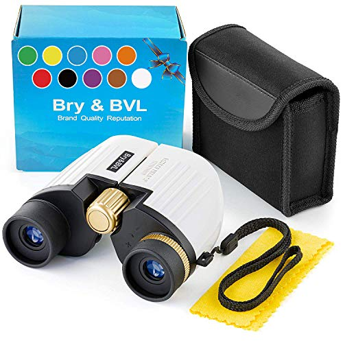 Binoculars for Kids - High Resolution, Shockproof, Compact - 8X22 Kids Binoculars for Bird Watching, Best Toys for Boys, Girls - Real Optics Set for Outdoor Toddler Games - Detective, Spy Kid - White