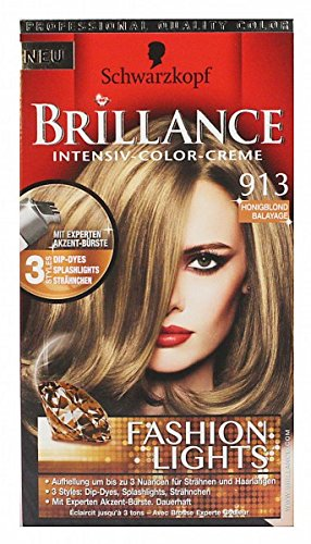 Schwarzkopf Brillance Intensiv Color Creme Fashion Lights 913 Honey Blond 113 ml, Pack 113 ml:(3 x 113 ml)