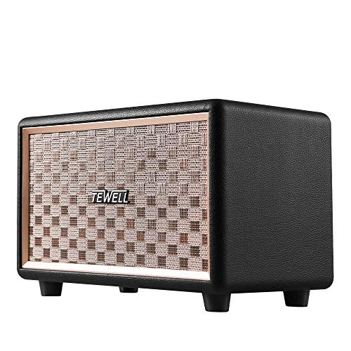 TEWELL Computer Speaker, HD 24W Audio Vintage Bluetooth Speakers Plug-in Speaker with Extended Bass and Treble, Knob for Volume Control, Toggle Switch and 3.5mm AUX Input