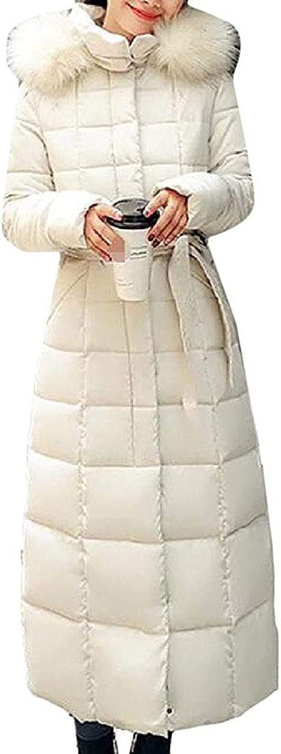 fghvcbnghf Womens Outwear Cotton-Padded Hooded Puffer Quilted Mid-Long Down Jacket