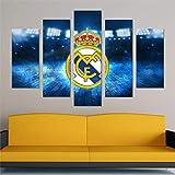LIVELJ Puzzle-Real Madrid f.c/Framed/5 Pieza impresión sobre Lienzo artística Pintura Moderno Pared Tejido HD Tamaño Total: (H-55 cm x M/B-100 cm)