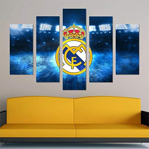LIVELJ Puzzle-Real Madrid f.c/Framed/5 Pieza impresión sobre Lienzo artística Pintura Moderno Pared Tejido HD