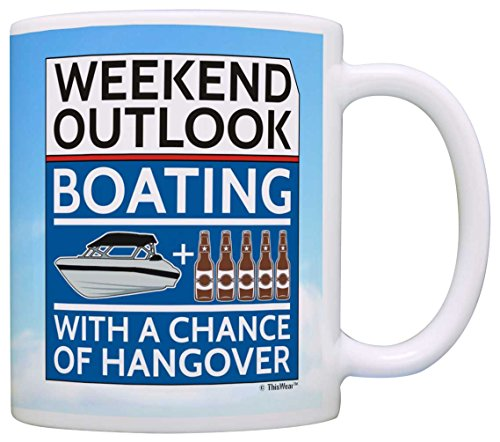 New Boat Owners Gifts Boating with a Chance of Hangover Boaters Gift Coffee Mug Tea Cup Clouds