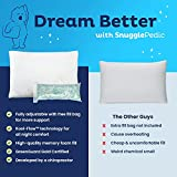 Snuggle-Pedic Adjustable Shredded Memory Foam Pillow with Cooling Bamboo Cover –...