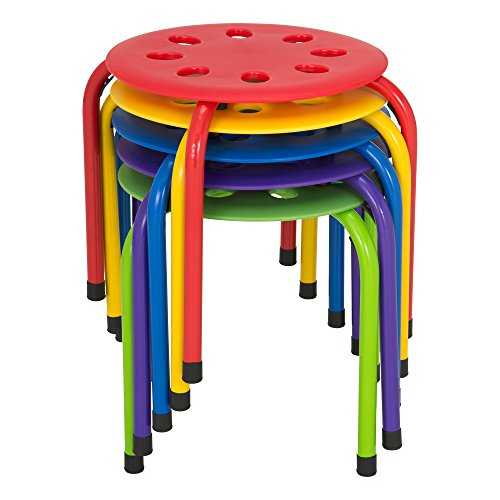 """Norwood Commercial Furniture NOR-AUH1200AC-SO Plastic Stack Stools 12"""" Height (Pack of 5), Red, Blue, green, Yellow, Purple"""