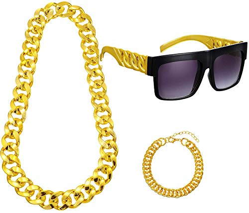Hip Hop Costume Kit, Old School Rapper Sunglasses, Metal Rapper Big Links Chain Necklace and Bracelet for Costume Jewelry Rapper