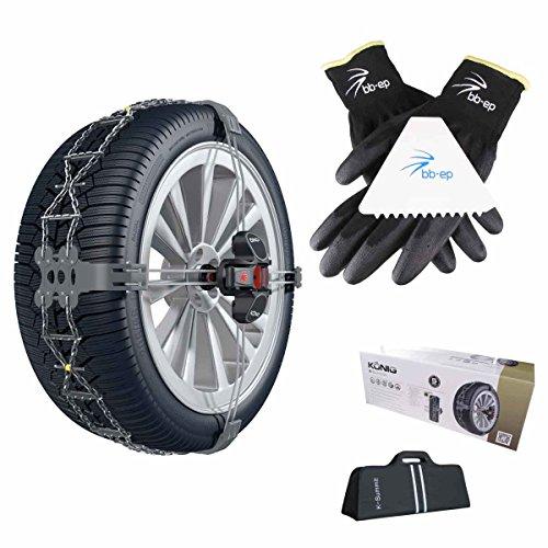 BB-EP König | Thule Summit – Exclusive de la chaîne K de Neige, Solution Simple et Propre – Convient pour BMW Série 1 (F20) avec la pneus Taille 205/55 R16 en kit avec Haute qualité Gants