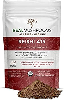 Real Mushroom Reishi Mushroom Powder for Longevity  45 Servings  Vegan Organic Non-GMO Reishi Extract Reishi Mushroom Supplement for Relaxation Better Sleep Overall Wellness Safe for Pets
