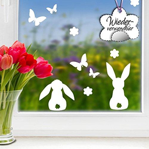 """Wandtattoo-Loft Fensteraufkleber Ostermotiv """"DREI süße Hasen mit Blumen und Schmetterlingen"""" in der Farbe WEIß WIEDERVERWENDBAR / 23 Aufkleber im Set/Fensterbilder/Fensterdeko Set"""