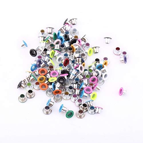500 piezas de ojales de metal de forma redonda, ojales de álbum de recortes de colores mezclados de 3 mm para fabricación de bolsos de artesanía en cuero